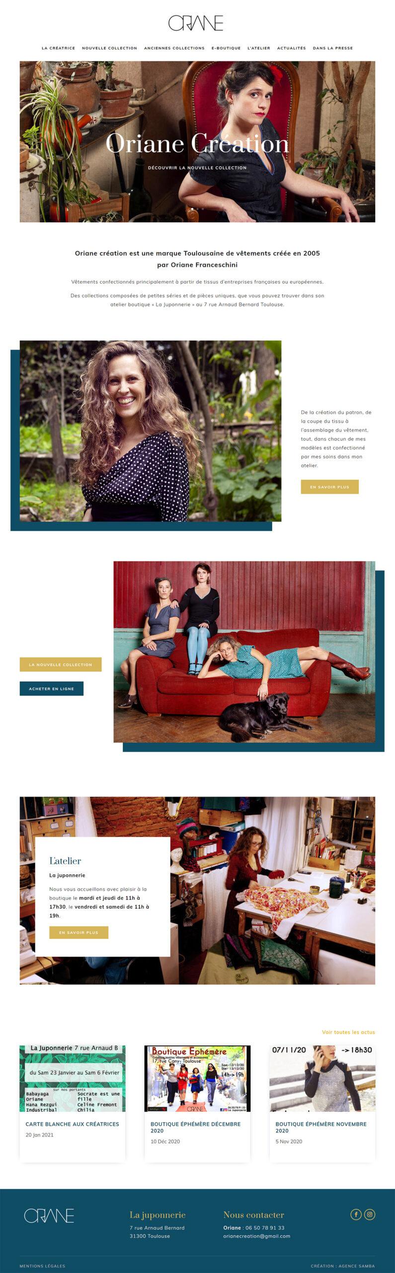Site web e-shop e-commerce Oriane Création
